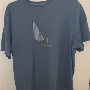 LIFE IS GOOD Fishinginboat L shortsleeve Blue Tee